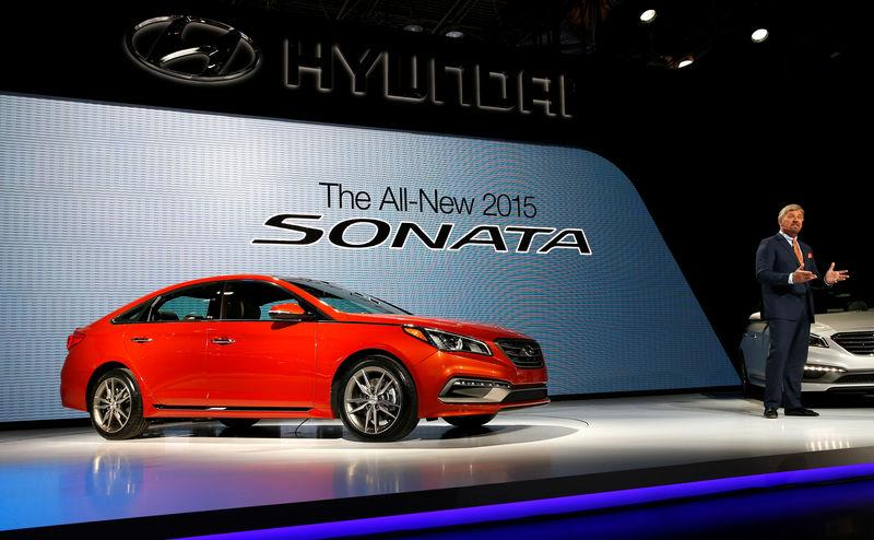 FILE PHOTO: Dave Zuchowski, President and CEO of Hyundai North America, introduces the 2015 Hyundai Sonata at the New York International Auto Show in New York City