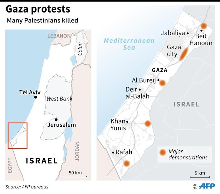 Map locating Palestinian demonstrations on Friday in Gaza, during which many protestors have been shot dead by Israeli forces. (AFP Photo/Sophie RAMIS)