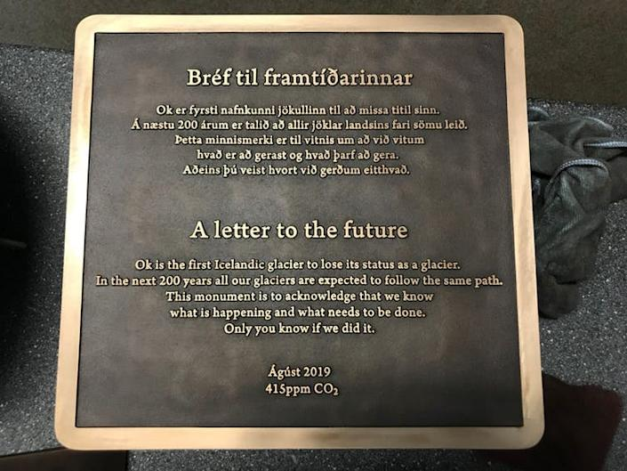 """<span class=""""caption"""">During Okjökull's funeral residents reminisced, public figures such as Iceland's Prime Minister Katrin Jakobsdottir spoke and presented a death certificate, and this plaque was laid.</span> <span class=""""attribution""""><a class=""""link rapid-noclick-resp"""" href=""""https://news.rice.edu/2019/08/13/memorial-honoring-lost-glacier-to-be-installed-in-iceland-aug-18-2/"""" rel=""""nofollow noopener"""" target=""""_blank"""" data-ylk=""""slk:Grétar Thorvaldsson & Málmsteypan Hella/Rice University"""">Grétar Thorvaldsson & Málmsteypan Hella/Rice University</a></span>"""