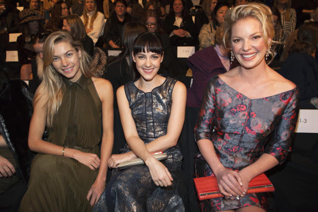 Model Jessica Hart, Actress Jenna Malone and Katherine Heigl sit in the front row at the J. Mendel Autumn/Winter 2013 collection during New York Fashion Week February 13, 2013. REUTERS/Andrew Kelly (UNITED STATES - Tags: FASHION ENTERTAINMENT) - RTR3DR8M