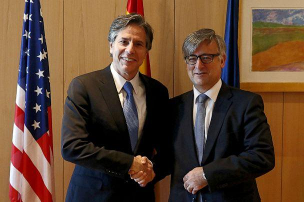 PHOTO: In this July 27, 2015, file photo, US Deputy Secretary of State, Antony Blinken shakes hands with Spanish Secretary of State for Foreign Affairs, Ignacio Ybanez, during their meeting in Madrid. (J.J. Guillen/EPA via Shutterstock, FILE)