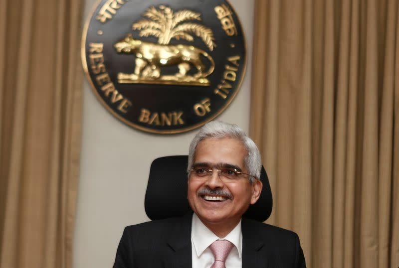 The Reserve Bank of India (RBI) Governor Shaktikanta Das arrives to attend a news conference after a monetary policy review in Mumbai