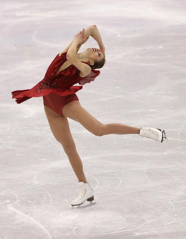 <p>Carolina Kostner of Italy competes during the Figure Skating- Team Event-Ladies Short Program on day two of the PyeongChang 2018 Winter Olympic Games at Gangneung Ice Arena on February 11, 2018 in Gangneung, South Korea. (Photo by Robert Cianflone/Getty Images) </p>