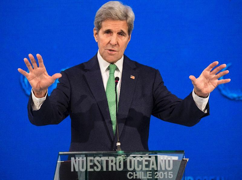 "US Secretary of State John Kerry delivers a speech at the ""Our Ocean"" meeting in Vina del Mar, Chile, October 5, 2015"