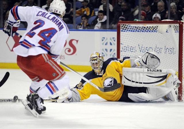 New York Rangers' Ryan Callahan (24) has the puck knocked away by Buffalo Sabres' Ryan Miller (30) during the second period of an NHL hockey game in Buffalo, N.Y., Thursday, Dec. 5, 2013. (AP Photo/Gary Wiepert)