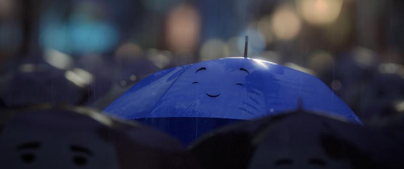 """""""THE BLUE UMBRELLA"""" (Pictured) BLUE. (©2013 Disney-Pixar. All Rights Reserved.)"""