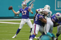 Buffalo Bills quarterback Josh Allen (17) looks to pass, during the first half of an NFL football game against the Miami Dolphins, Sunday, Sept. 20, 2020 in Miami Gardens, Fla. (AP Photo/Wilfredo Lee)