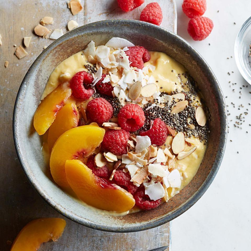 <p>This healthy smoothie recipe is a gateway to the smoothie-bowl craze. Use whatever fruit, nuts and seeds you like best to make it your own. Be sure to use frozen fruit in Step 1 to yield a creamy, frosty base for the toppings.</p>