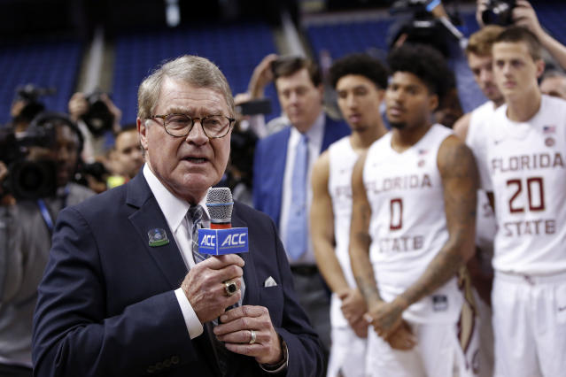 FILE - In this March 12, 2020, file photo, John Swofford, commissioner of the Atlantic Coast Conference, announces the cancellation of NCAA college basketball games at the ACC tournament in Greensboro, N.C. The Power Five conferences spent $350,000 on lobbying in the first three months of 2020, more than they had previously spent in any full year, as part of a coordinated effort to influence Congress on legislation affecting the ability of college athletes to earn endorsement money. In this particular case, the (Power Five) conferences are working together on this so that theres less confusion, not more, in terms of the messaging to congressional leaders that helps explain NIL (Names, Images and Likenesses) and what the concerns are, and how it might work, Swofford told The Associated Press. (AP Photo/Ben McKeown, File)