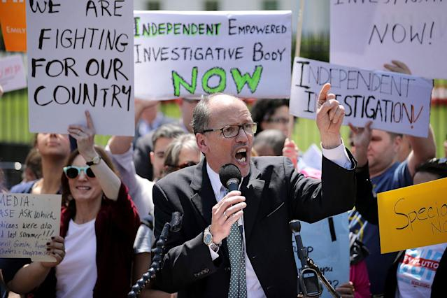 <p>Democratic National Party Chirman Tom Perez speaks as about 300 people rally to protest against President Donald Trump's firing of Federal Bureau of Investigation Director James Comey outside the White House May 10, 2017 in Washington, DC. Trump fired Comey a day earlier, demonstrators called it the 'Tuesday Night Massacre,' recalling former President Richard Nixon's firing of a independent special prosecutor. (Chip Somodevilla/Getty Images) </p>