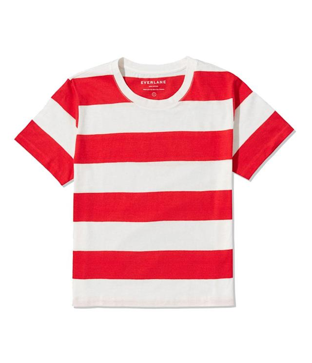 "<p>The Cotton Box-Cut Tee, $20, <a href=""https://www.everlane.com/products/womens-cotton-boxcut-tee-redbone-rugbystripe?collection=womens-tees"" rel=""nofollow noopener"" target=""_blank"" data-ylk=""slk:everlane.com"" class=""link rapid-noclick-resp"">everlane.com</a> </p>"