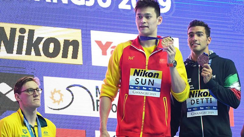 Seen here, Aussie swimmer Mack Horton refused to share a podium with Sun Yang.