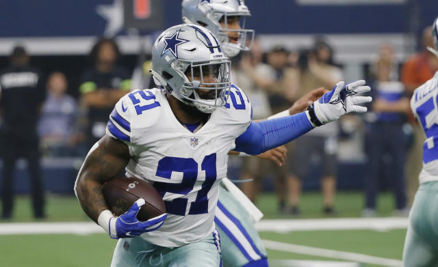 "In a run-first offense, <a class=""link rapid-noclick-resp"" href=""/nfl/players/29238/"" data-ylk=""slk:Ezekiel Elliott"">Ezekiel Elliott</a> is Dallas' heart and soul, but Philly's impenetrable front may force <a class=""link rapid-noclick-resp"" href=""/nfl/players/29369/"" data-ylk=""slk:Dak Prescott"">Dak Prescott</a> airborne. (AP Photo/Roger Steinman)"