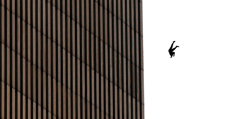 A man falls to his death from the World Trade Center after two planes hit the twin towers on September 11, 2001 in New York City in a terrorist attack. Photo: Jose Jimenez/Primera Hora/Getty Images