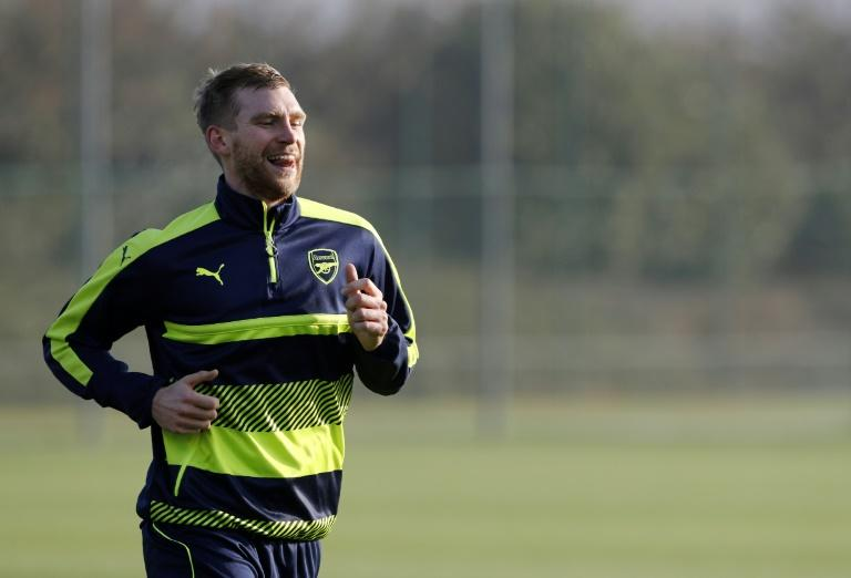 Arsenal defender Per Mertesacker pictured during a training session at the club's complex in London Colney on December 5, 2016