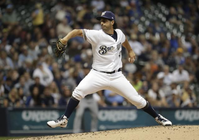 Milwaukee Brewers starting pitcher Gio Gonzalez throws during the third inning of a baseball game against the San Diego Padres Tuesday, Sept. 17, 2019, in Milwaukee. (AP Photo/Morry Gash)