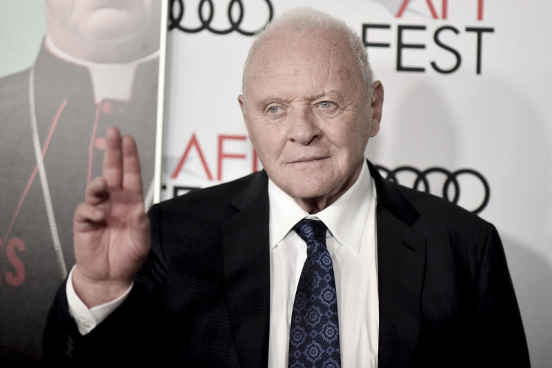 """Anthony Hopkins attends 2019 AFI Fest - """"The Two Popes"""" at the TCL Chinese Theatre on Monday, Nov. 18, 2019. (Photo by Richard Shotwell/Invision/AP)"""