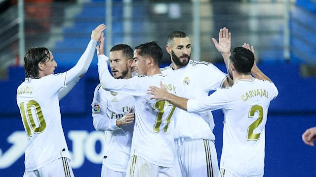 Real Madrid beat Eibar 4-0 in Saturday's clash at Ipurua to move top of LaLiga, with Karim Benzema scoring twice in the first half.