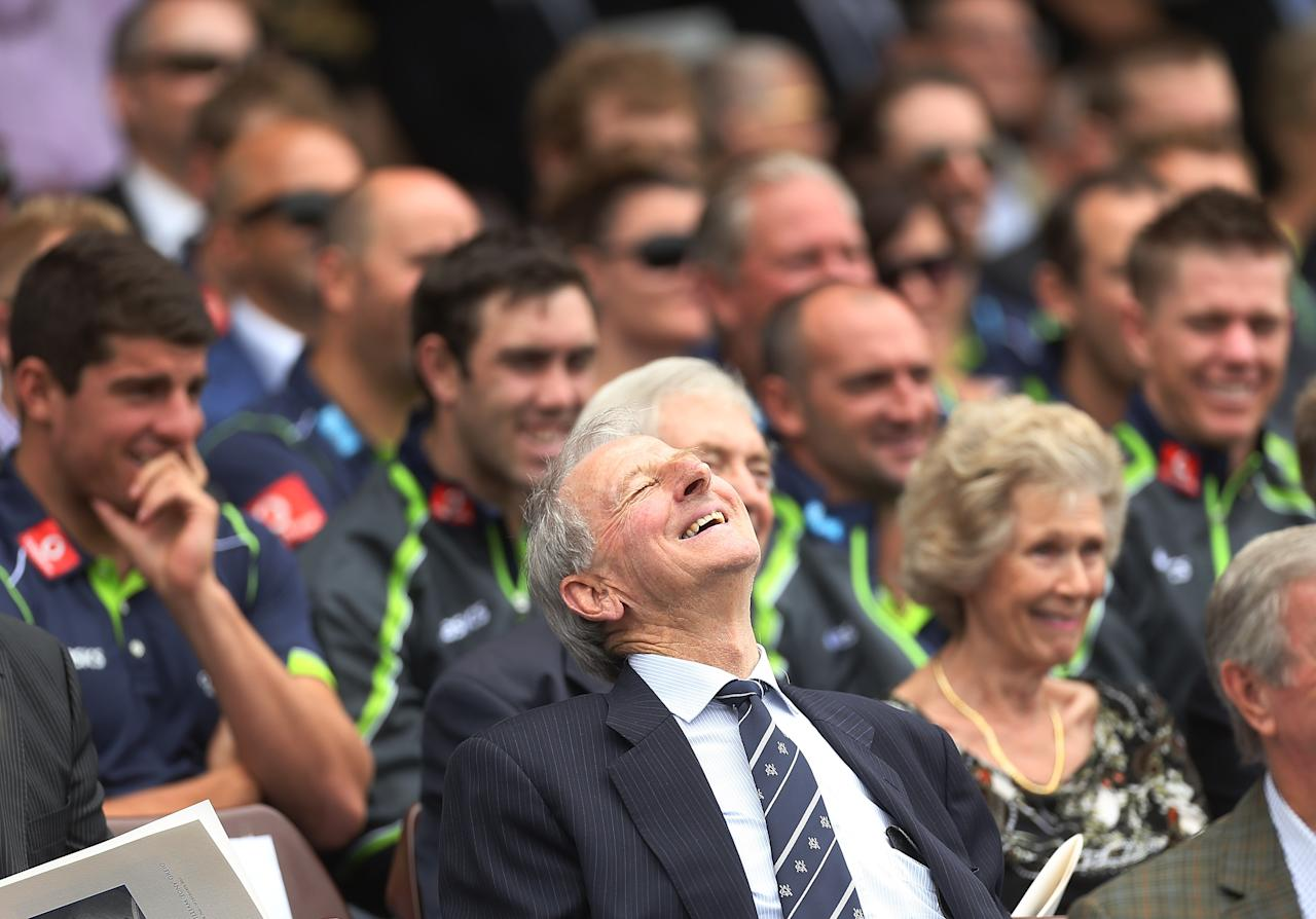 SYDNEY, AUSTRALIA - JANUARY 20: Former Australian captain and commentator Bill Lawry laughs during the Tony Greig memorial service at Sydney Cricket Ground on January 20, 2013 in Sydney, Australia.  (Photo by Mark Metcalfe/Getty Images)