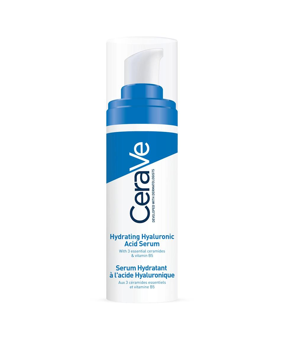 """<strong><h2>CeraVe Hyaluronic Acid Serum</h2></strong><br>New from CeraVe, this fast-absorbing serum contains hyaluronic acid, which is a humectant and works like a sponge, drawing in water and boosting hydration levels for up to 24 hours. Hydrated skin = healthy, glowy skin. It can be used alone, but I layer it underneath moisturiser and SPF. It can even double up as a makeup base.<br><br><br><strong>CeraVe</strong> HA Serum, $, available at <a href=""""https://www.superdrug.com/Skin/Face-Skin-Care/Face-Serums/Cerave-Hyaluronic-Acid-Serum-30ml/p/805427?utm_source=refinery29&utm_medium=dirbuy_display&utm_content=oap_skin_serum_display_aw&utm_campaign=cer_skin_brand_core&cleansing-refinery29-partnership_h3-non-pharma_&dclid=COKN54rj6vICFaYT0wodO4kJYw"""" rel=""""nofollow noopener"""" target=""""_blank"""" data-ylk=""""slk:Superdrug"""" class=""""link rapid-noclick-resp"""">Superdrug</a>"""