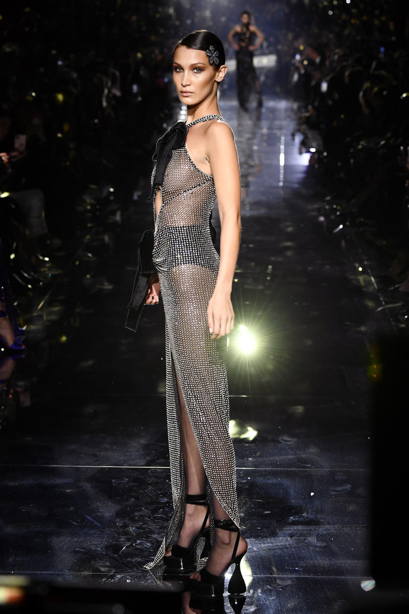 Bella Hadid walks the runway at the Tom Ford AW20 Show at Milk Studios on February 07, 2020 in Hollywood, California.
