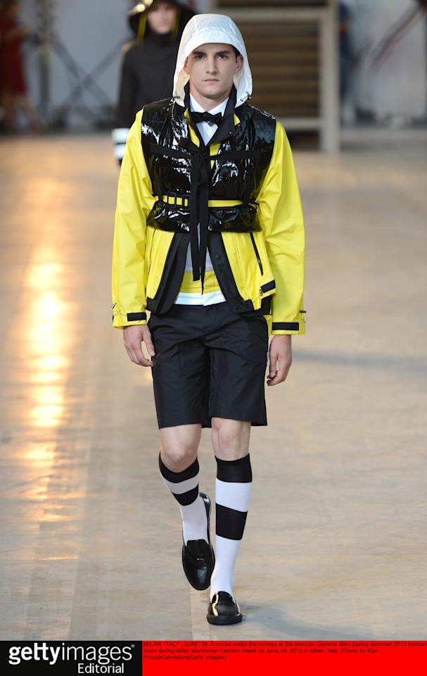MILAN, ITALY - JUNE 24:  A model walks the runway at the Moncler Gamme Bleu Spring Summer 2013 fashion show during Milan Menswear Fashion Week on June 24, 2012 in Milan, Italy.  (Photo by Karl Prouse/Catwalking/Getty Images)