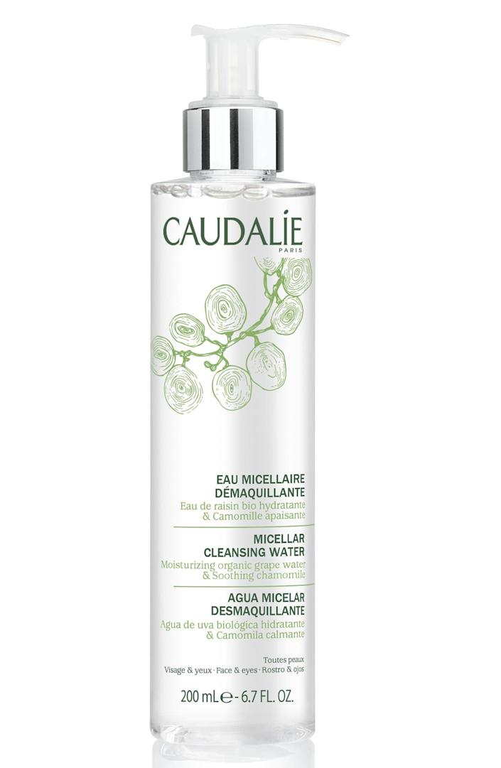 <p>The soap-free <span>Caudalie Micellar Cleansing Water</span> ($28) is a huge time saver. In one step, you can remove your makeup, cleanse your skin, and tone - all at once.</p>