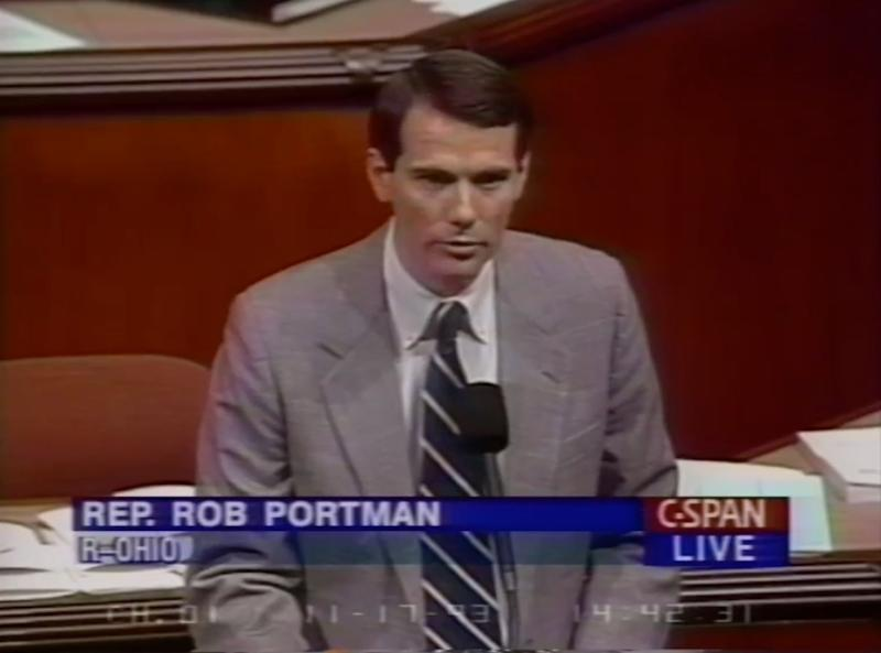 Rep. Rob Portman (R-OH), now a US Senator, speaks on the House floor in support of NAFTA in 1993. (CSPAN)