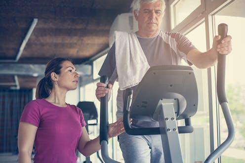 "<span class=""caption"">Done properly, cardiac rehab can increase quality of life, and lower the risk of future harm. </span> <span class=""attribution""><a class=""link rapid-noclick-resp"" href=""https://www.shutterstock.com/image-photo/senior-man-exercising-on-stationary-bikes-661013335"" rel=""nofollow noopener"" target=""_blank"" data-ylk=""slk:Liderina/Shutterstock"">Liderina/Shutterstock</a></span>"