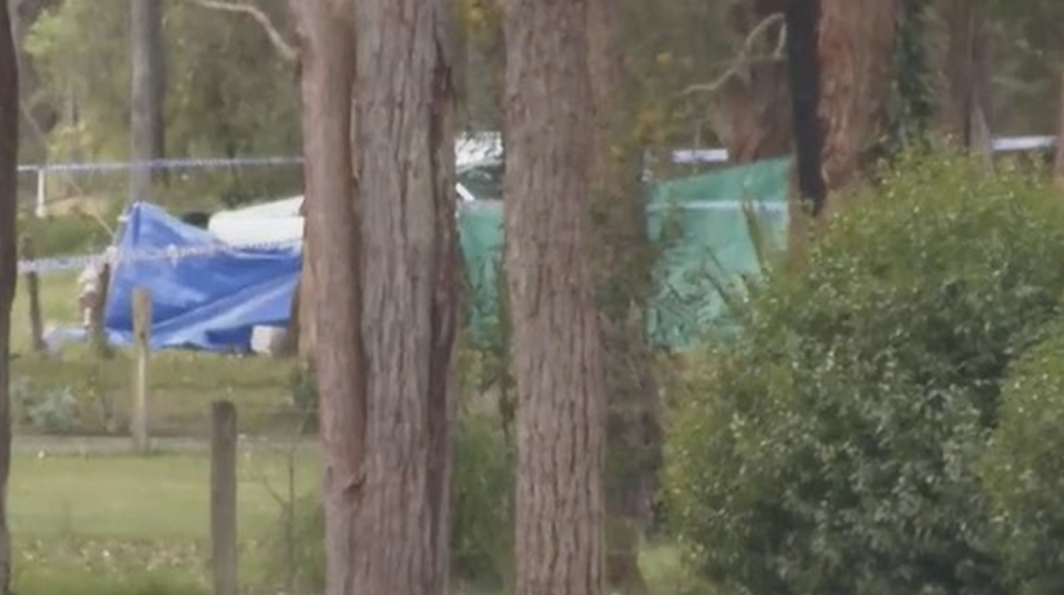 A man has died after being found with a gunshot wound following reports of his ute hitting a tree. Source: Nine News