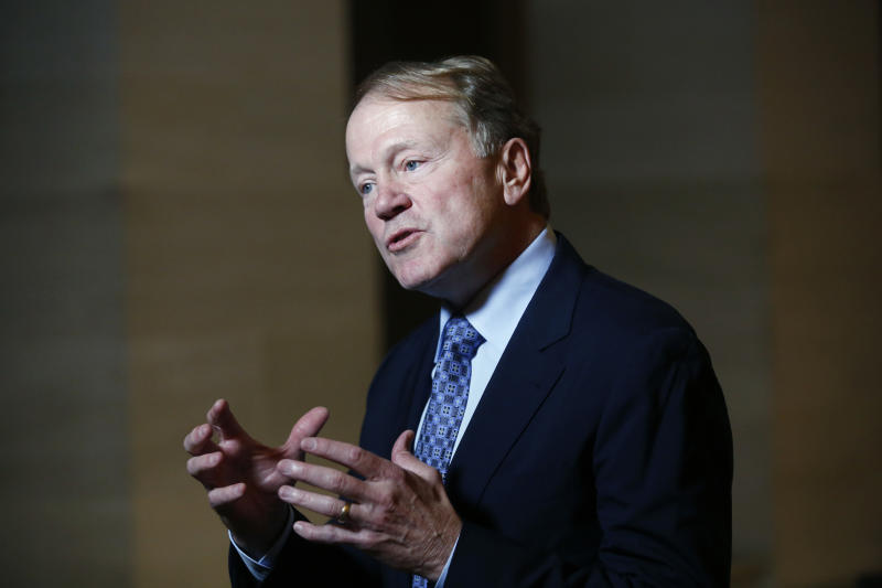 """Former CEO of Cisco Systems, John Chambers, answers the media during the """"Choose France"""" summit, at the Chateau de Versailles, outside Paris on January 22, 2018. President Emmanuel Macron's campaign for a """"French Renaissance"""" kicked into overdrive on January 22 as his government welcomed 140 multinational business leaders before this week's jamboree of the rich and powerful in Davos. / AFP PHOTO / POOL / Thibault Camus (Photo credit should read THIBAULT CAMUS/AFP via Getty Images)"""