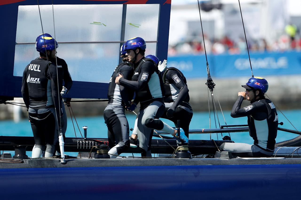 Sailing - Youth America's Cup finals - Hamilton, Bermuda - June 21, 2017 -  NZL Sailing Team (New Zealand) celebrate after winning the sixth race on their way to placing second in Youth America's Cup finals. REUTERS/Mike Segar