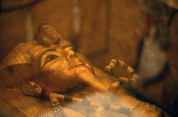 PHOTO: The head of the golden sarcophagus of the 18th dynasty Pharaoh Tutankhamun displayed in his burial chamber on the west bank of the Nile river opposite the southern Egyptian city of Luxor south of the capital Cairo. (Mohamed El-Shahed/AFP/Getty Images)