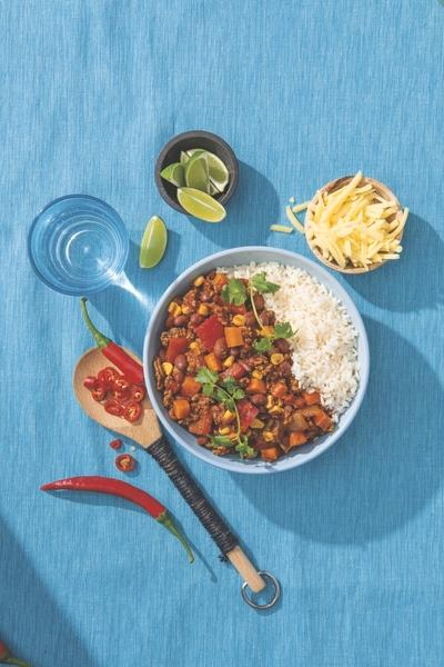 A Chilli Con Carne meal made using Aldi cooking kits