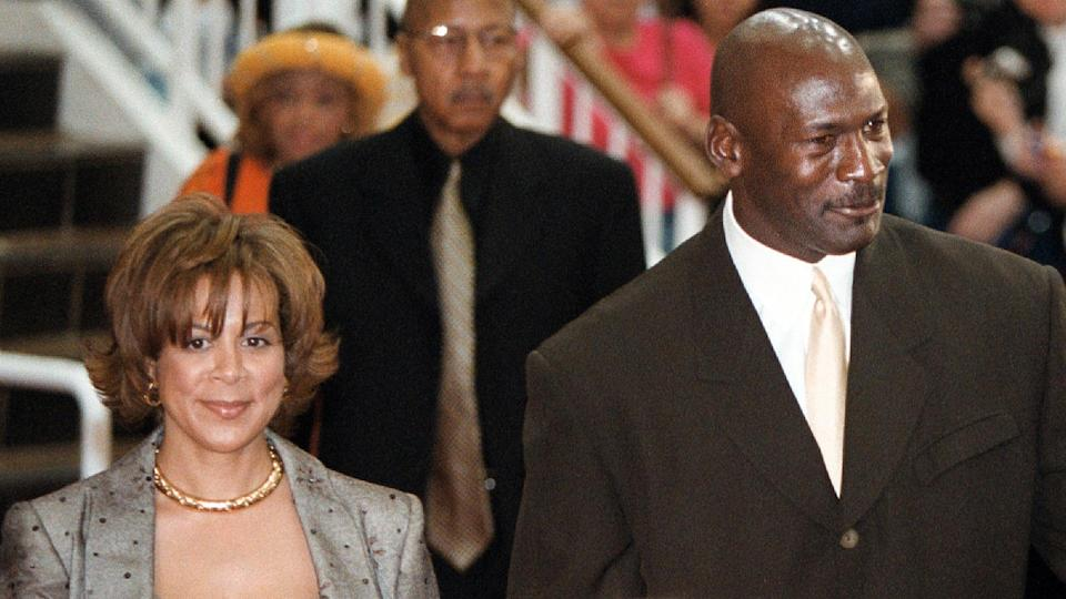 368895 02: (FILE PHOTO) Basketball legend Michael Jordan and his wife Juanita arrive for the world premier of the IMAX movie