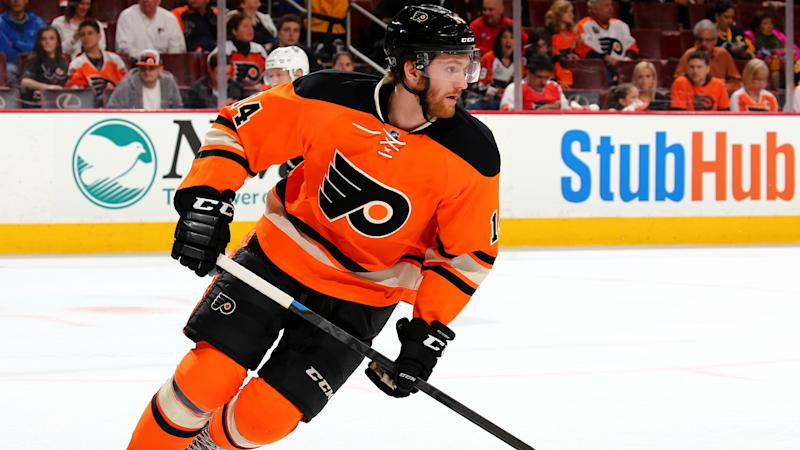NHL playoffs 2018: Flyers' Sean Couturier goes down at practice after ugly collision