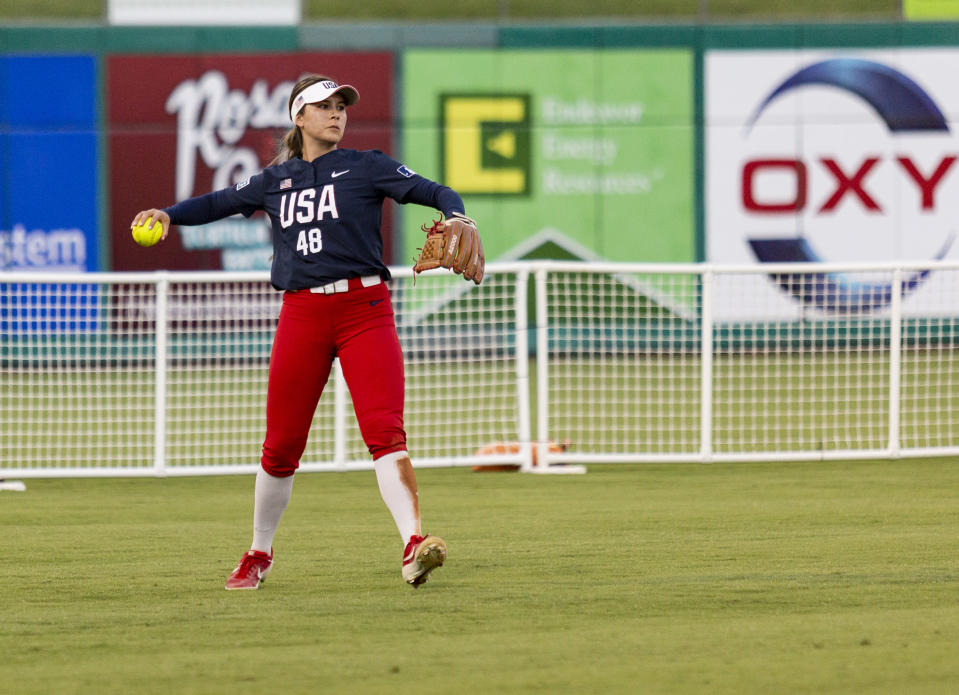 FILE - Team USA's Bubba Nickles (48) throws the ball to the infield after making an out against Team Alliance at Momentum Bank Ballpark in Midland, Texas, in this Saturday, June 13, 2021, file photo. U.S. coach Ken Eriksen predicts tight competition in softball as the sport returns to the Olympics for the first time since 2008. (Jacob Ford/Odessa American via AP, File)