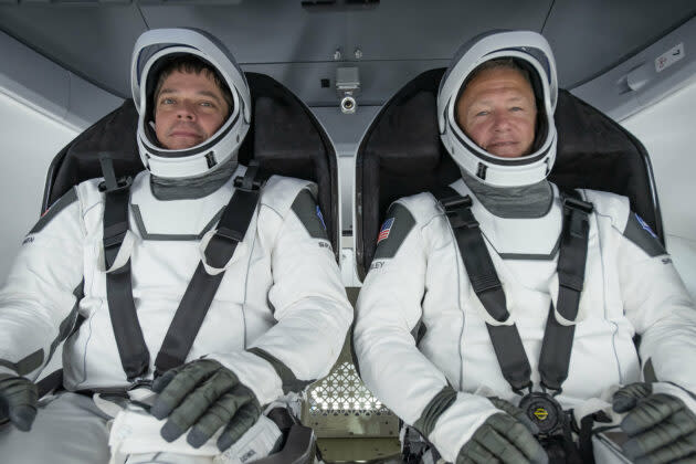 NASA astronauts Bob Behnken and Doug Hurley participate in an integrated SpaceX test of critical crew flight hardware in March, in preparation for this month's scheduled launch to the International Space Station in a Crew Dragon capsule. (SpaceX Photo)