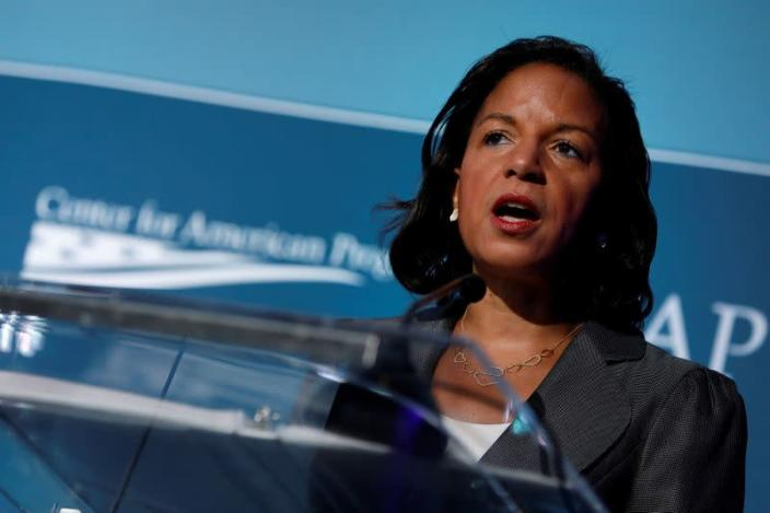 FILE PHOTO: FILE PHOTO: Former National Security Advisor Susan Rice speaks at the Center for American Progress Ideas Conference at the Four Seasons Hotel in Washington