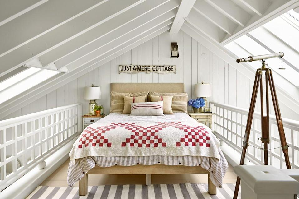 """<p>""""When you spend a lot of time in one space, such as your bedroom, you want it to be relaxing and neutral,"""" says Sherwin-Williams' Director of Color Marketing, Sue Wadden. """"Painting your walls neutral or muted colors will help make your space feel more calming."""" In this sleeping loft of this <a href=""""https://www.countryliving.com/home-design/house-tours/g22639893/marthas-vineyard-beach-house-tour-decorating-ideas/"""" rel=""""nofollow noopener"""" target=""""_blank"""" data-ylk=""""slk:Martha's Vineyard beach house"""" class=""""link rapid-noclick-resp"""">Martha's Vineyard beach house</a>, a creamy off-white paint reflects a plethora of light from the many skylights.</p><p><strong>Get the Look:</strong> <br>Wall and Ceiling Paint Color: <a href=""""https://go.redirectingat.com?id=74968X1596630&url=https%3A%2F%2Fwww.lowes.com%2Fpd%2FValspar-Wispy-White-Interior-Paint-Sample-Actual-Net-Contents-8-fl-oz%2F1000869896&sref=https%3A%2F%2Fwww.countryliving.com%2Fremodeling-renovation%2Fhome-makeovers%2Fg32468539%2Fbest-bedroom-paint-colors-ideas%2F"""" rel=""""nofollow noopener"""" target=""""_blank"""" data-ylk=""""slk:Wispy White by Valspar"""" class=""""link rapid-noclick-resp"""">Wispy White by Valspar</a></p>"""