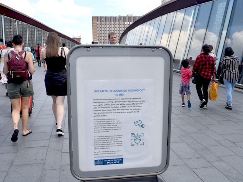 A public information poster displayed during a Met trial in Stratford, London: Sian Berry