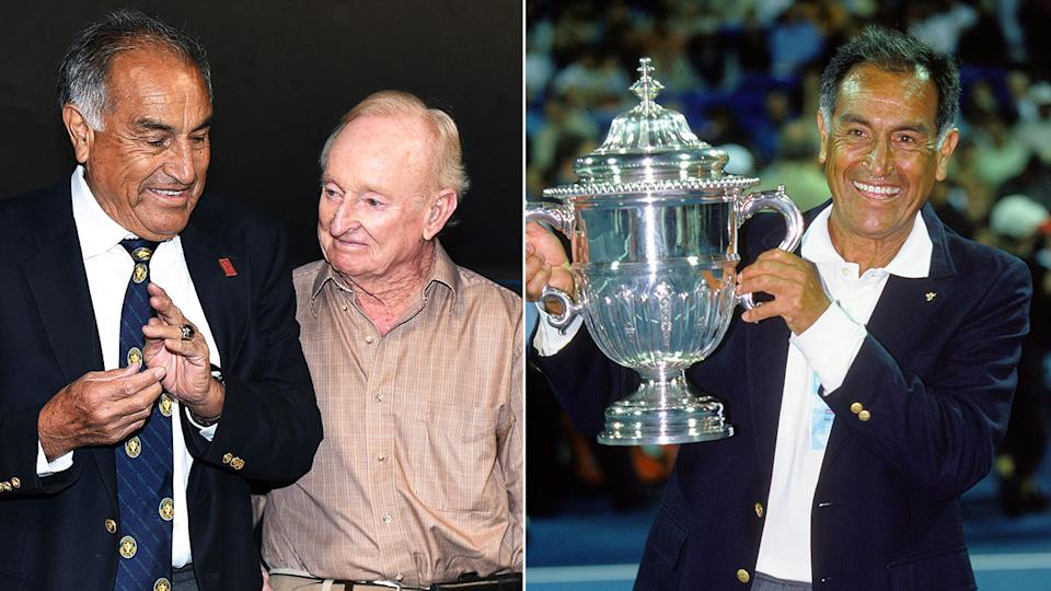Seen here is tennis Hall of Fame member Alex Olmedo and on the left with legendary Aussie Rod Laver.