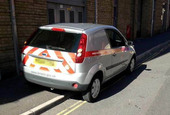 poorly parked traffic warden