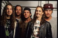 <p>Pearl Jam. Eddie Vedder, Mike McCready, Jeff Ament, Stone Gossard, and Dave Abbruzzese attend the Pinkpop Festival, Landgraaf, Holland in 1992.</p>