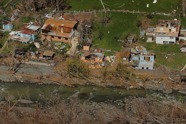 Damaged homes are seen as recovery efforts continue following Hurricane Maria near Ciales, P.R., on Oct. 7. (Photo: Lucas Jackson/Reuters)