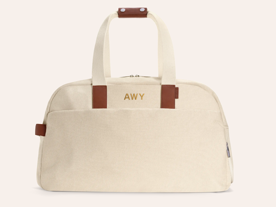 """<h3><a href=""""https://www.awaytravel.com/travel-bags/weekender/fleet-canvas"""" rel=""""nofollow noopener"""" target=""""_blank"""" data-ylk=""""slk:Away Monogrammed Weekender Bag"""" class=""""link rapid-noclick-resp"""">Away Monogrammed Weekender Bag<br></a></h3><br>As soon as we're all allowed to travel again, this sleek travel bag promises to stand out in the crowd (or at least in the security line). Have it embroidered with up to three letters for an extra $35. <br><br><strong>Away</strong> The Weekender, $, available at <a href=""""https://go.skimresources.com/?id=30283X879131&url=https%3A%2F%2Fwww.awaytravel.com%2Ftravel-bags%2Fweekender%2Fnatural-canvas"""" rel=""""nofollow noopener"""" target=""""_blank"""" data-ylk=""""slk:Away"""" class=""""link rapid-noclick-resp"""">Away</a>"""