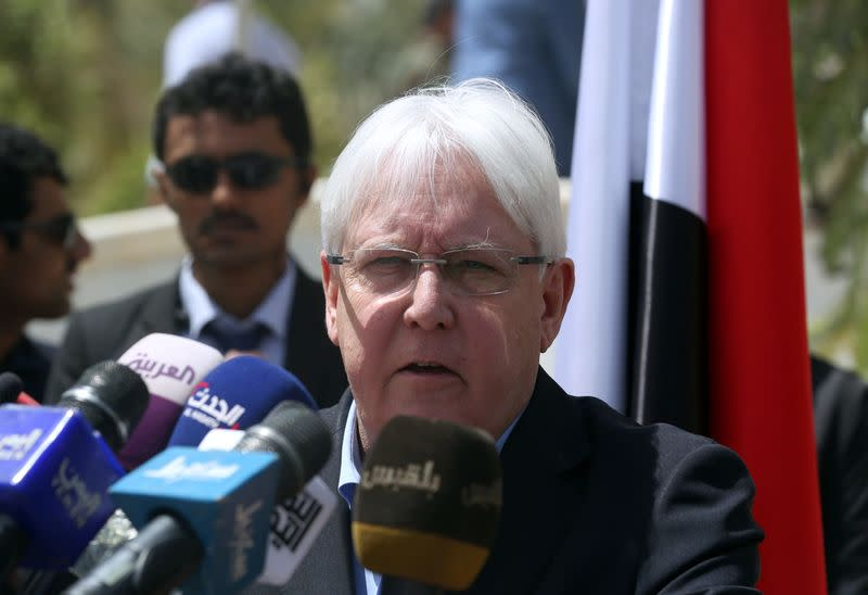 UN Special Envoy to Yemen Griffiths, speaks during news conference, in Marib