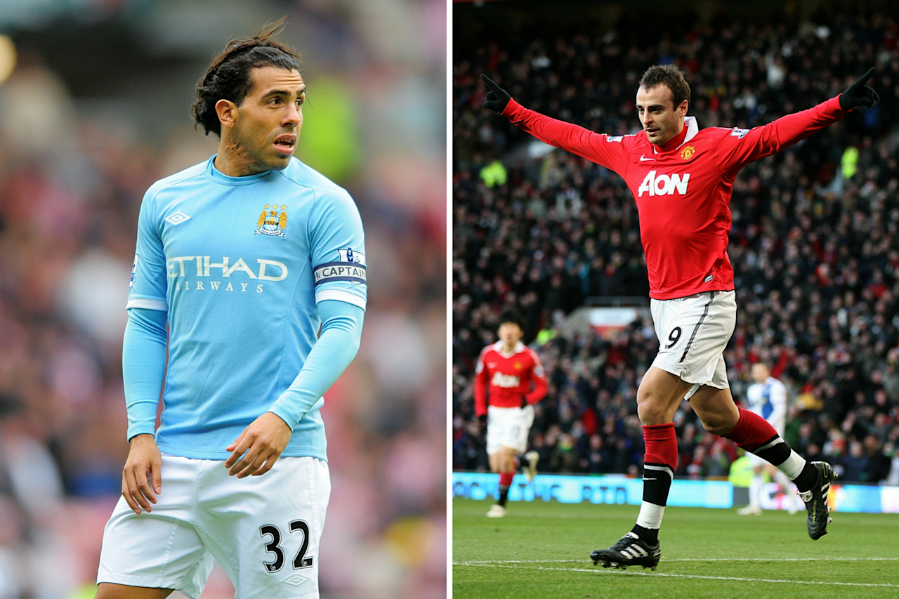 <p>Dimitar Berbatov and Carlos Tevez in 2010-2011. With 20 goals each, Berbatov and Tevez were the top-scorers of the season. It is Berbatov's team, Manchester United, that won the Premier League title. </p>