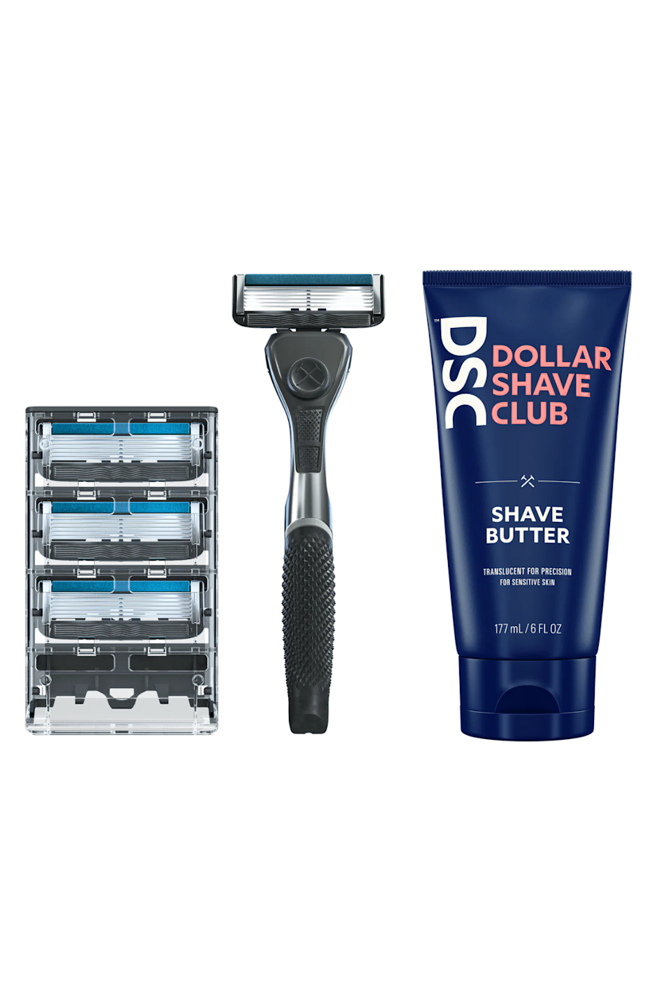"""<p><strong>Dollar Shave Club</strong></p><p>dollarshaveclub.com</p><p><strong>$20.00</strong></p><p><a href=""""https://go.redirectingat.com?id=74968X1596630&url=https%3A%2F%2Fwww.dollarshaveclub.com%2Fproduct%2Fssbutter-od&sref=https%3A%2F%2Fwww.seventeen.com%2Fbeauty%2Fmakeup-skincare%2Fg37147767%2Fbest-razors%2F"""" rel=""""nofollow noopener"""" target=""""_blank"""" data-ylk=""""slk:Shop Now"""" class=""""link rapid-noclick-resp"""">Shop Now</a></p><p>If you recognize Dollar Shave Club, you may have heard about it from some of your fave influencers. DSC is one of the leading shaving subscription services on the market. After taking a quiz, the brand customizes a box of products catered to your needs and ships them to your door every time you need them.</p>"""