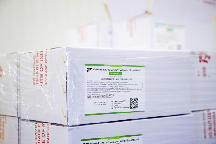 Boxes of some of the first 500,000 of the two million AstraZeneca COVID-19 vaccine doses that Canada has secured through a deal with the Serum Institute of India in partnership with Verity Pharma are displayed, Wednesday, March 3, 2021, at a facility in Milton, Ontario. (Carlos Osorio/Pool Photo via AP)